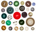 Collection of sewing button on white background Royalty Free Stock Photo