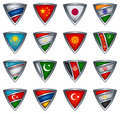 Collection shield with flag of the Asia Royalty Free Stock Images