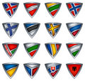 Collection shield with flag of the Europe Royalty Free Stock Image