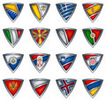Collection shield with flag of the Europe Stock Photography