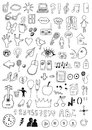 Collection of signs and symbols hand drawn Royalty Free Stock Photography