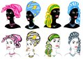 Collection. Silhouette of a head of a sweet lady. A bright shawl, a turban, tied to the head of an African-American girl. The
