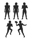 Collection of Silhouettes. Football Players Set