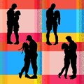 Silhouettes of men and women in love