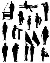 Collection of silhouettes of people on a white background Royalty Free Stock Image