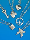 Collection of silver pendants Royalty Free Stock Images