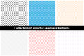 Collection of simple colorful seamless patterns.