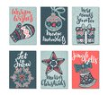 Collection of six Christmas greeting cards. Royalty Free Stock Photo