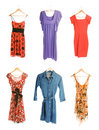 Collection of six different dresses Royalty Free Stock Photo