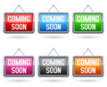 Collection of six glossy coming soon hanging signboard on white background Stock Images