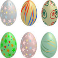 Collection of six pastel colored 3D Easter Eggs Stock Image