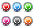 Collection of six power symbol glossy round metal buttons on white background Royalty Free Stock Photos