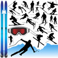 Collection of ski vector and equipments Royalty Free Stock Image
