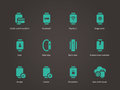 Collection of smart watch and payment app icons set.