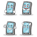 Collection of smartphone cartoon character set