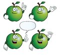 Collection smiling apples various gestures Royalty Free Stock Photography
