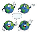 Collection smiling earth globes various gestures Stock Photo