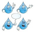 Collection smiling water drops various gestures Stock Photos