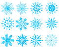 Collection of snowflakes Stock Image