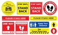 Collection of Social distancing graphic signs Royalty Free Stock Photo