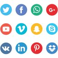 Collection of social media icons printed on white paper