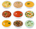 Collection of soups soup in bowl tomato vegetable noodle isolate Royalty Free Stock Photo