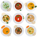 Collection of soups soup in cup tomato vegetable noodle isolated Royalty Free Stock Photo