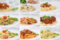 Collection of spaghetti pasta noodles food meals with tomatoes and basil Royalty Free Stock Photo