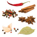 Collection of spices isolated on white pepper cinnamon bay leaf garlic and star anise Stock Photo