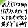 Sport players silhouettes vector Royalty Free Stock Photo