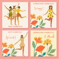 Collection of spring cards. International Women`s Day. Vector vintage template with cute dancing girl and flowers in retro style.