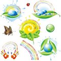 Collection of spring eco-icons. Stock Photography