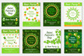 Collection of St. Patrick`s Day invitation, poster, flyer. Beer Party set a template for your design with clover