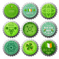 Collection of St. Patricks Day bottle caps Stock Photography
