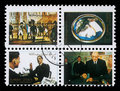 Collection of stamps printed in Ajman showing pictures of a famous men and women Royalty Free Stock Photo