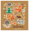 Collection of stickers with cartoon characters and autumn elements