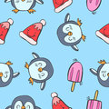 Collection stock penguin and ice cream colorful