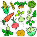 Collection stock of vegetable various doodle set