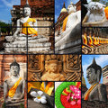 Collection of Stone statue Buddha in Thailand