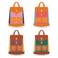 Collection of stylish colorful leather backpacks with pockets and white stitching. Vector illustration.