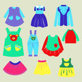 Collection of summer childrens clothing Royalty Free Stock Photo