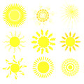 Collection of suns bright flat vector illustration Stock Photo