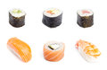Collection of sushi rolls Royalty Free Stock Images