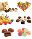 Collection of sweet chocolate candies isolated Stock Photos