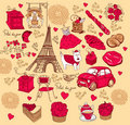 Collection symbols of Paris. Royalty Free Stock Photography