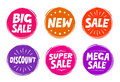 Collection symbols such as Sale, New, Discount. Icons vector illustration