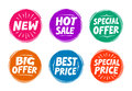 Collection symbols such as Special offer, Hot sale, Best price, New. Icons Royalty Free Stock Photo