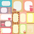 Collection of tags for scrapbooking with teacups Stock Photo