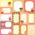 Collection of tags for scrapboooking with decorated cakes Stock Photography