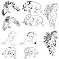 Collection of Tatoo Animals Royalty Free Stock Photo